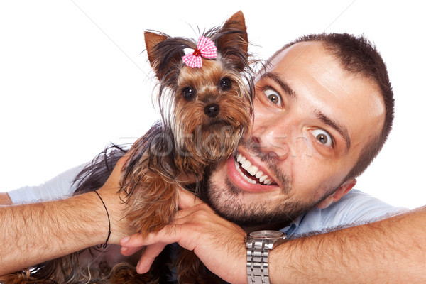 Stock photo: young man holding a cute yorkie puppy dog