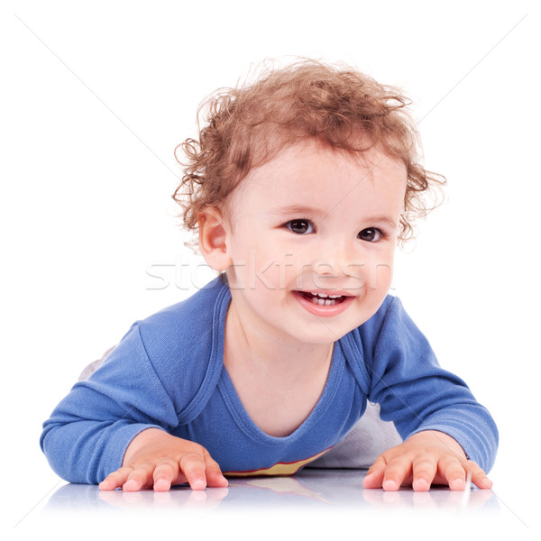 Cute kid Bauch lachen tragen blau Stock foto © feedough