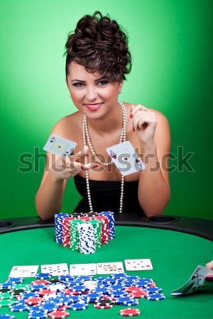 woman has four of a kind Stock photo © feedough