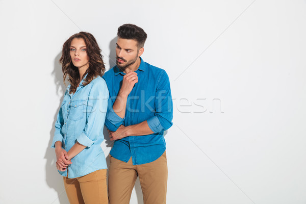 casual man thinks about what his woman is thinking about Stock photo © feedough