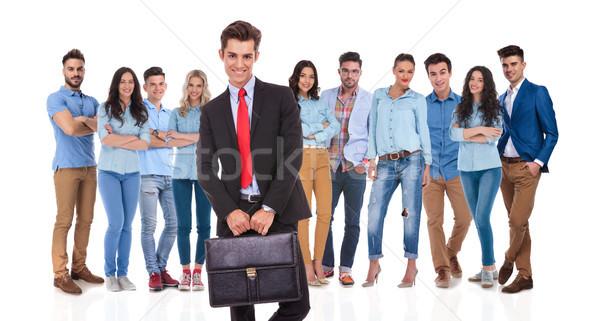 Groep leider permanente koffer beide Stockfoto © feedough