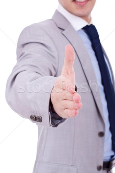 Olá homem de negócios aperto de mão isolado branco negócio Foto stock © feedough