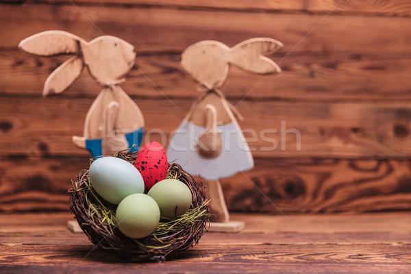 пасхальных яиц корзины Кролики старое дерево любви Сток-фото © feedough