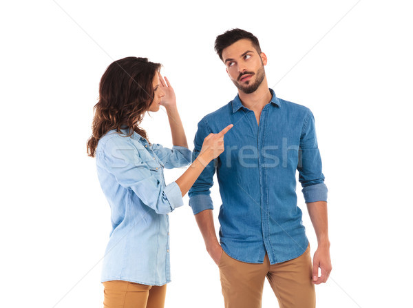 casual woman blaming her man for everything  Stock photo © feedough