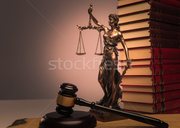 law books, justice statue and wooden gavel Stock photo © feedough