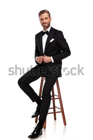 üzletember ül zsámoly külső messze oldal Stock fotó © feedough