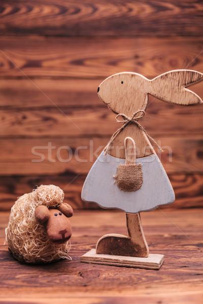 Kobiet bunny owiec stare drewno miłości Zdjęcia stock © feedough