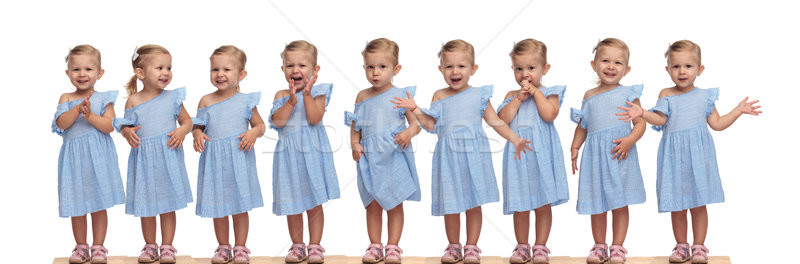 collage image of the same adorable little girl being excited  Stock photo © feedough
