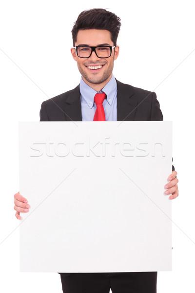 Plank beide handen jonge zakenman Stockfoto © feedough
