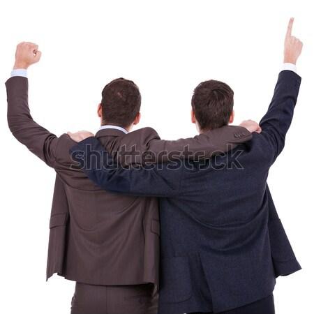Ganar empresarios vista posterior dos manos aire Foto stock © feedough