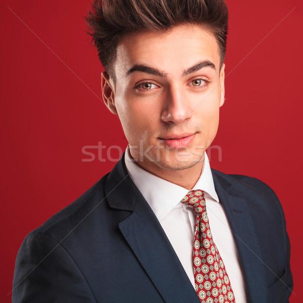 Zakenman zwart pak Rood stropdas portret Stockfoto © feedough