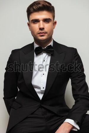 handsome elegant man in tuxedo and bowtie  Stock photo © feedough
