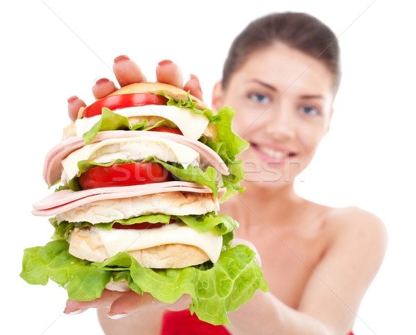young woman showing a sandwich Stock photo © feedough