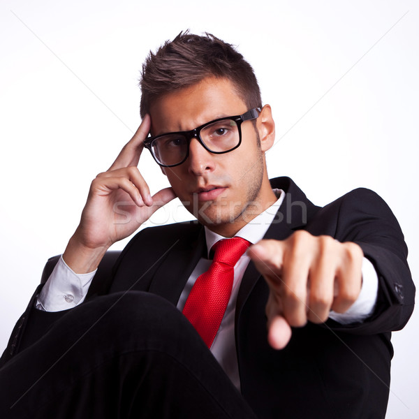 business man sitting and accusing you Stock photo © feedough