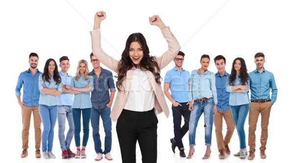 Célébrer femme d'affaires leader permanent gagnant chef d'équipe Photo stock © feedough