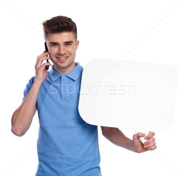 Man telefoon tekstballon witte business glimlach Stockfoto © feedough