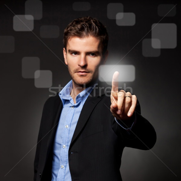 Photo stock: Homme · d'affaires · écran · tactile · bouton · sombre · affaires
