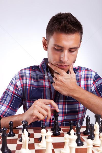 小さな チェス プレーヤー 思考 次 移動 ストックフォト © feedough