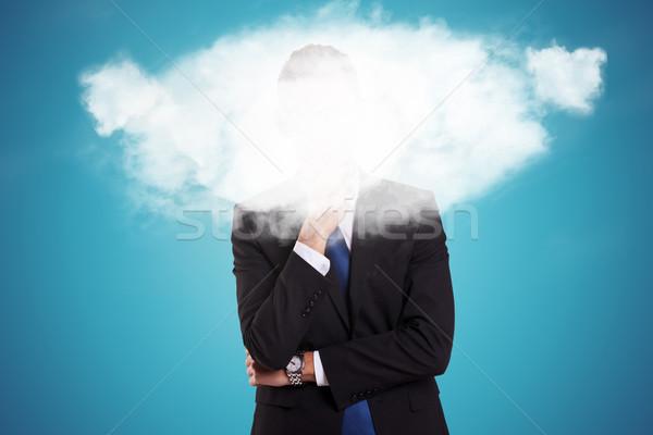 Homem de negócios nuvem cara pensativo jovem negócio Foto stock © feedough