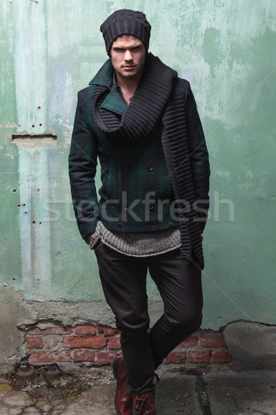 fashion man in front of cracked wall Stock photo © feedough