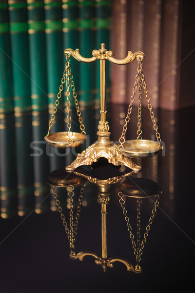 golden scales in front of a row of books  Stock photo © feedough