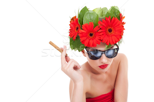 smoking hot young woman Stock photo © feedough