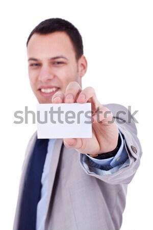 Boş kart iş adamı beyaz iş toplantı Stok fotoğraf © feedough