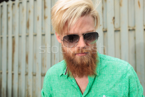 face of a bearded man looking down Stock photo © feedough