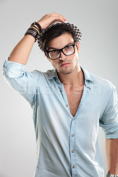 casual man wearing glasses Stock photo © feedough