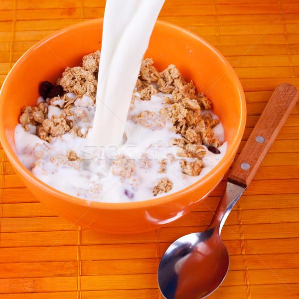 Leche cereales cereales taz n desayuno foto for Tazon cereales