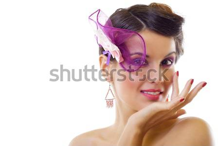 Beautiful young  woman giggles Stock photo © feedough