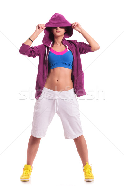 sporty woman hiding her eyes Stock photo © feedough