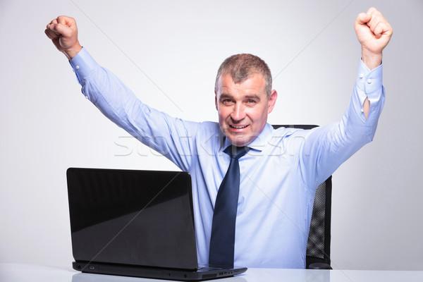 Stockfoto: Oude · zakenman · achter · laptop · senior · man