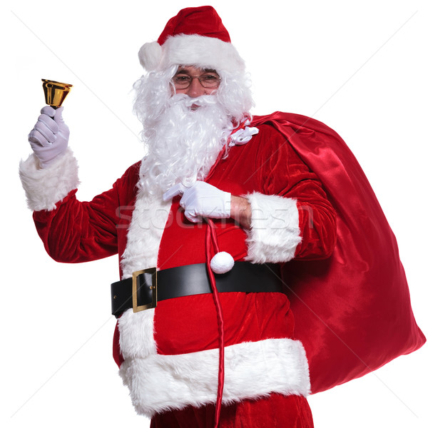 santa claus holding  bag on shoulder is ringing  bell Stock photo © feedough