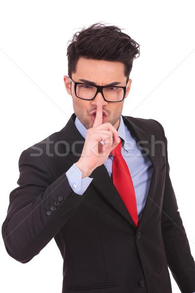 business man gesturing shut up Stock photo © feedough