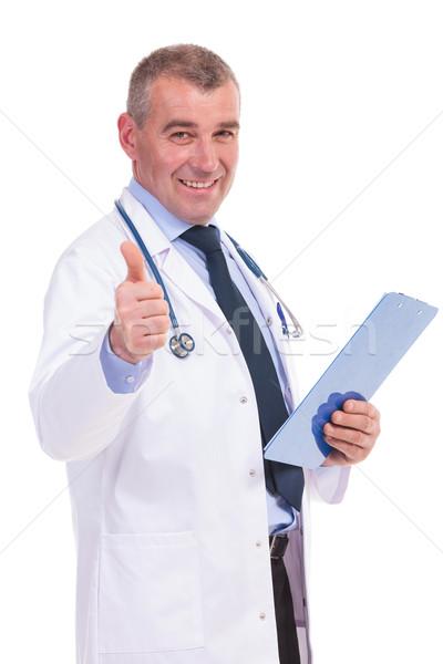 Vieux médecin bonnes nouvelles Photo stock © feedough