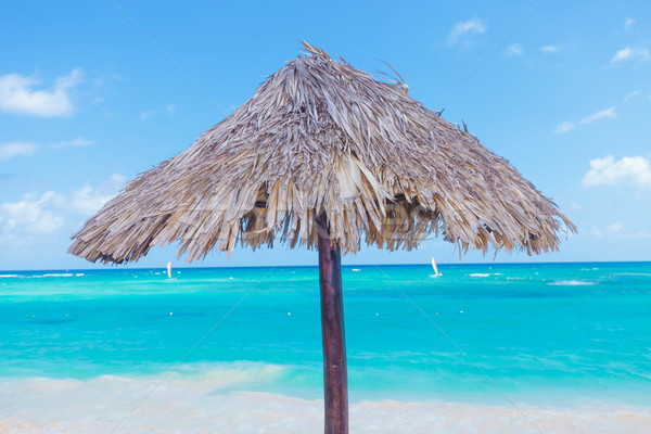 Wooden umbrella on beach Stock photo © feedough