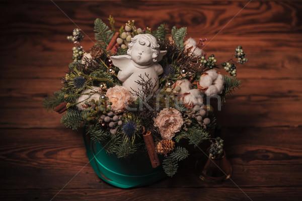 Küçük melek Noel dekorasyon ahşap meyve Stok fotoğraf © feedough