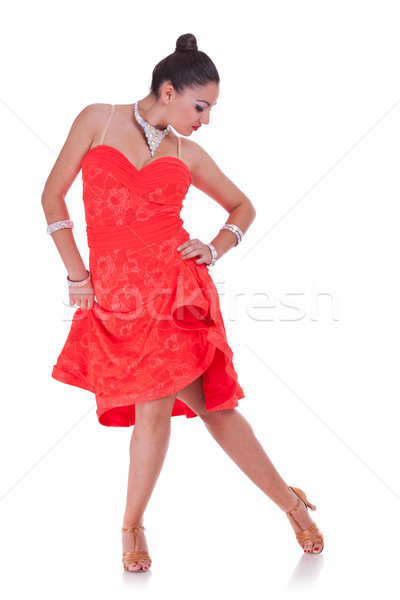 Vonzó nő tánc fiatal flamenco fehér zene Stock fotó © feedough