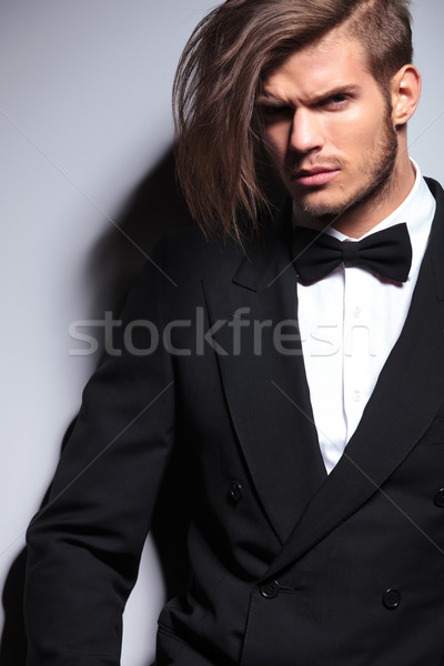 cutout picture of an elegant young fashion man with long hair Stock photo © feedough