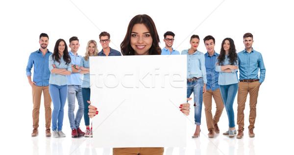 Stockfoto: Glimlachend · zakenvrouw · lege · boord · groep