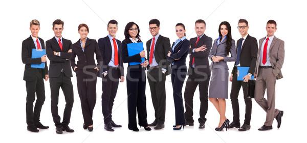 Foto d'archivio: Di · successo · felice · squadra · di · affari · uomini · d'affari · donne · isolato