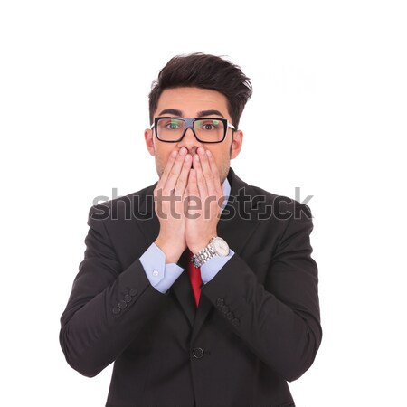 business man covering mouth Stock photo © feedough