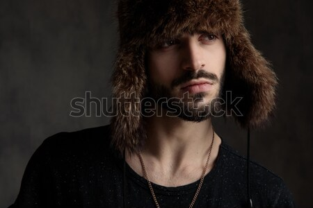 Stock fotó: Közelkép · fiatalember · divat · modell · arc · pózol