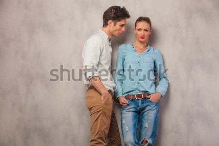 young casual couple pose in the wind Stock photo © feedough