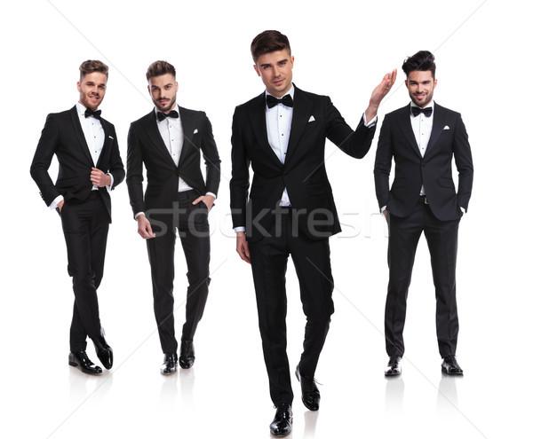 Equipe quatro cavalheiros líder casamento em pé Foto stock © feedough