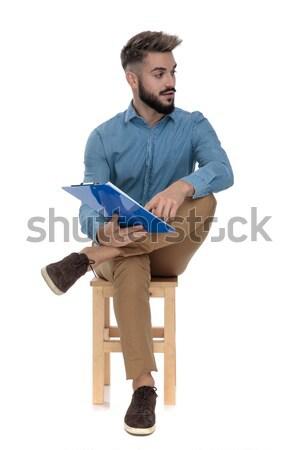 сидящий молодые студент отмечает кто-то Сток-фото © feedough