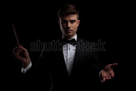 2 poses of elegant businessman in black suit with bowtie Stock photo © feedough