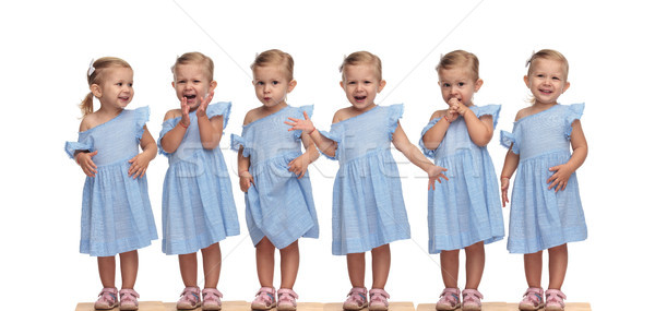 collage arrangement of an adorable little girl in blue dress  Stock photo © feedough