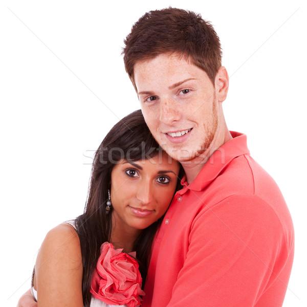 Jungen Sommersprossen Mann halten Freundin Bild Stock foto © feedough